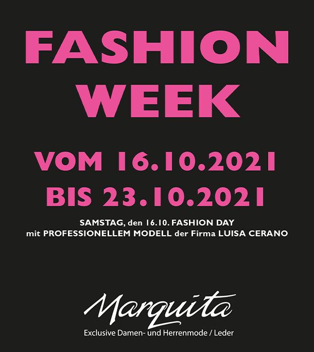 Fashion Week - vom 16.10.2021 bis 23.10.2021 Samstag, den 16.10. FASHION DAY - mit PROFESSIONELLEM MODELL der Firma LUISA CERANO